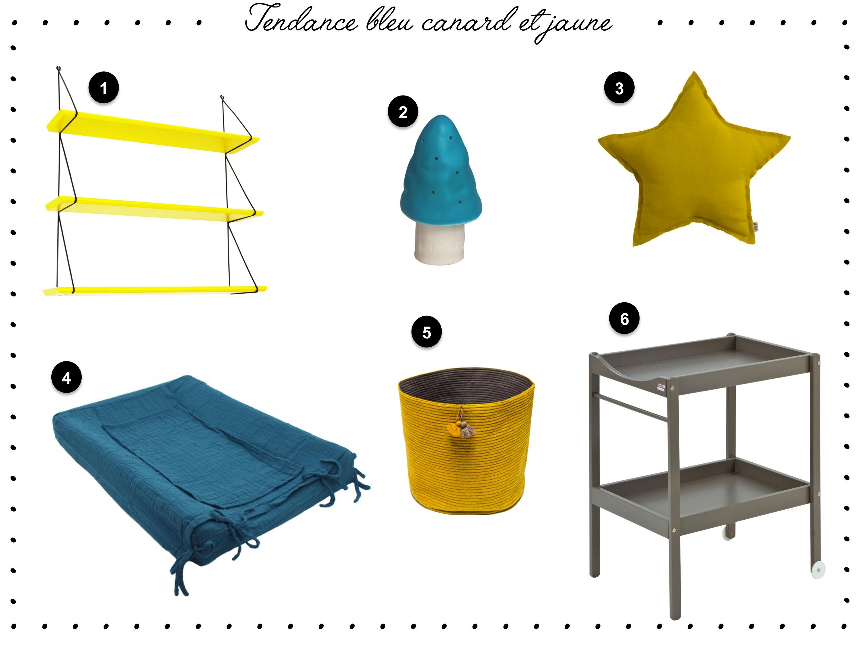 Tendance bleu canard et jaune pour la chambre de mon fils for Taupe et bleu canard